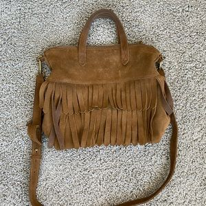 Madewell Suede Fringe Crossbody Bag Brown